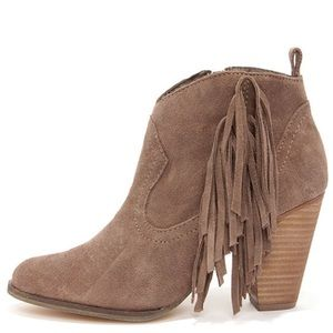 Steve Madden Ohio Taupe Fringe Ankle Booties